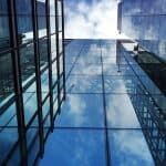 Glass buildings with reflection